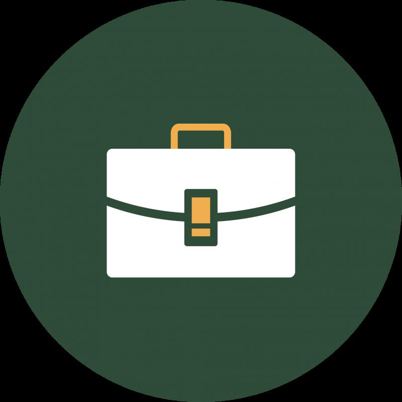 Green symbol with portfolio