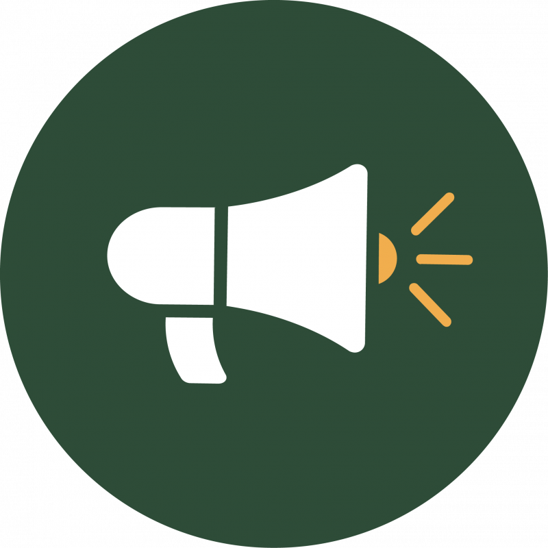 Green symbol with megaphone